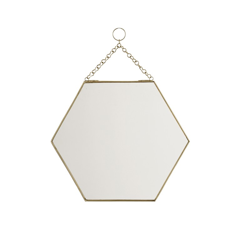 Grand miroir m tal dor hexagonal madam stoltz le joli for Grand miroir metal