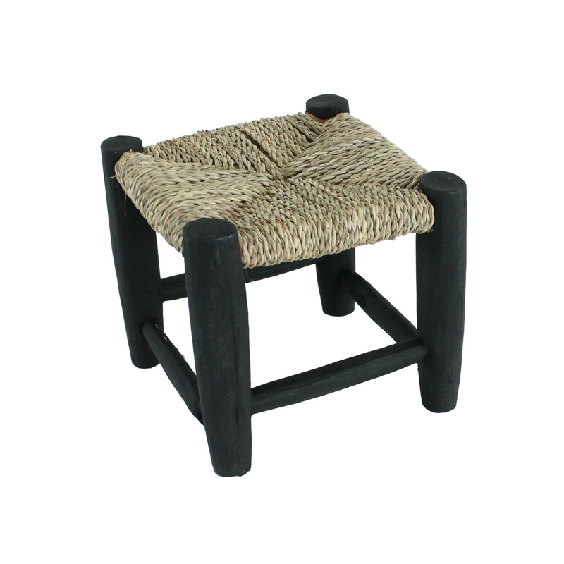 petit tabouret marocain noir beldi traditionnel le joli shop. Black Bedroom Furniture Sets. Home Design Ideas