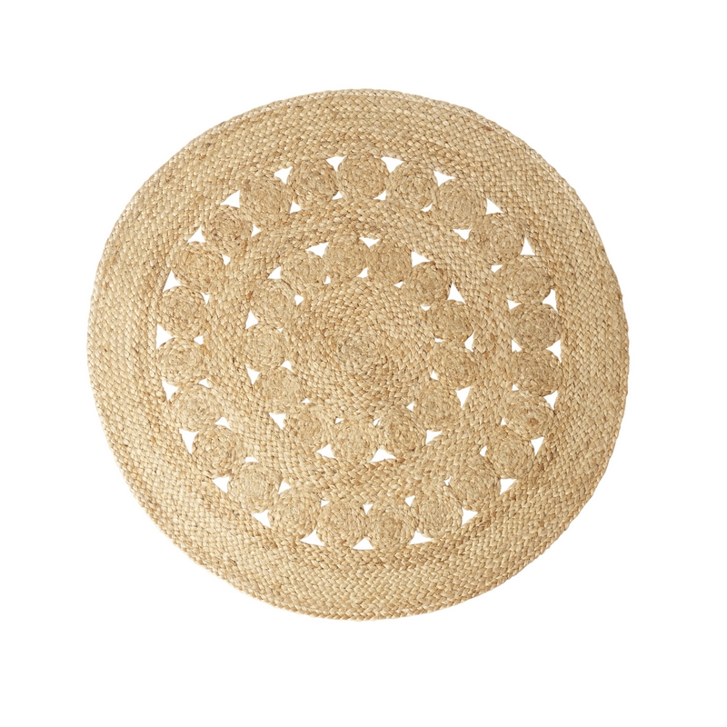 tapis rond en jute fleurs le joli shop. Black Bedroom Furniture Sets. Home Design Ideas